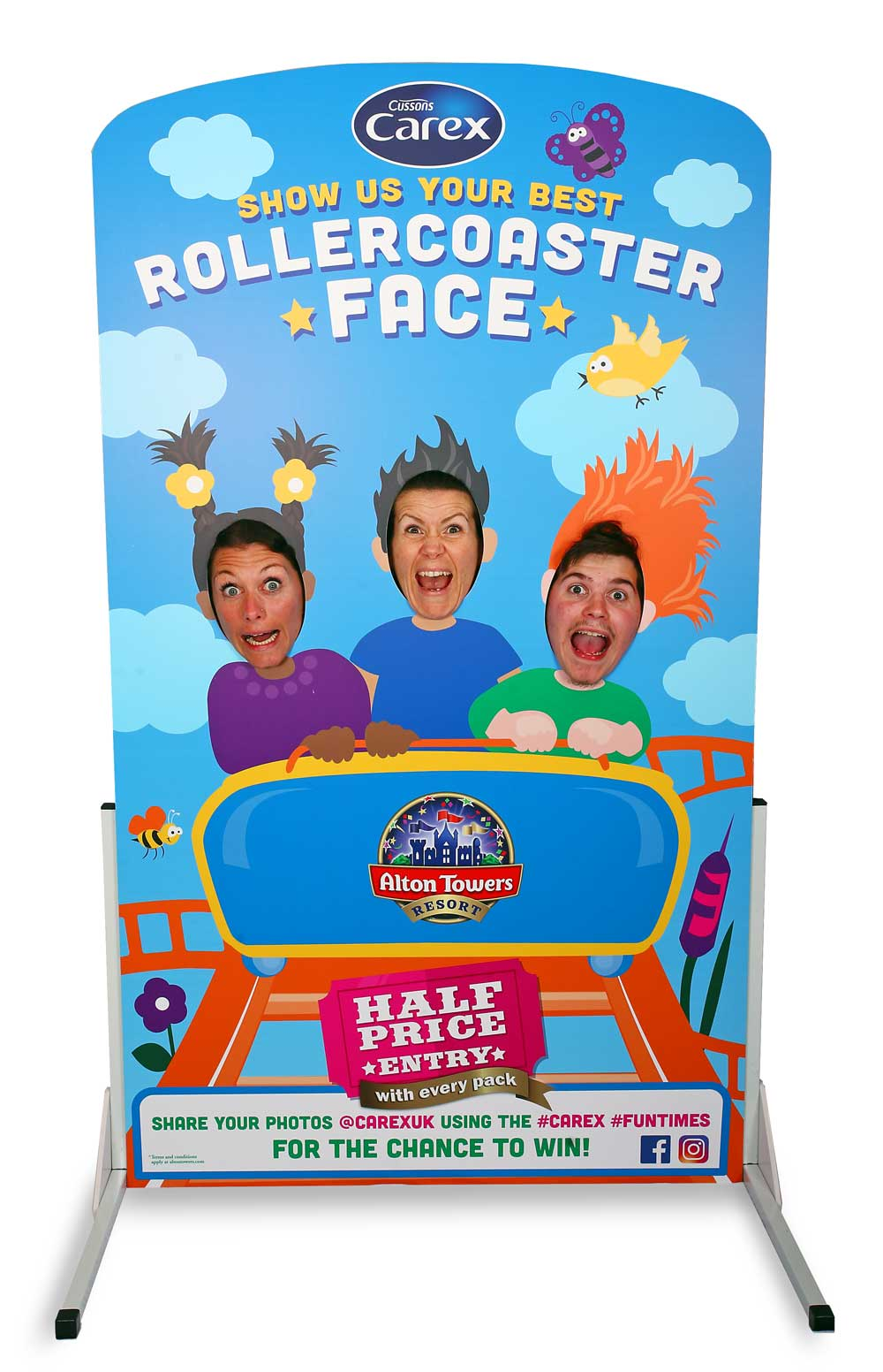 Rollercoaster face in the hole board