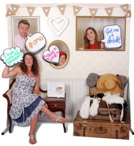 photo wall with speech bubbles