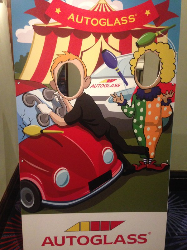 Photo cutouts, face in the hole board, branded peep board, aunt sally board, Autoglass, corporate events
