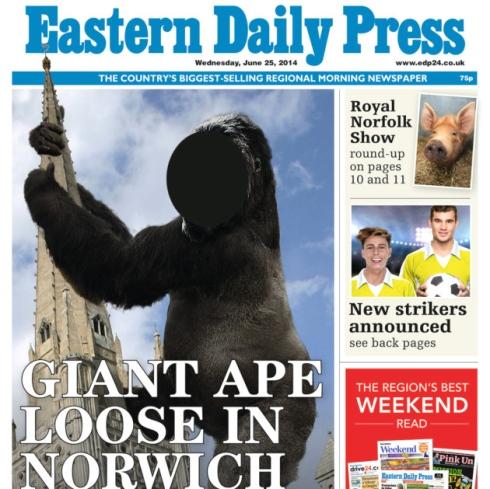 photo cutout board, giant ape, Norwich