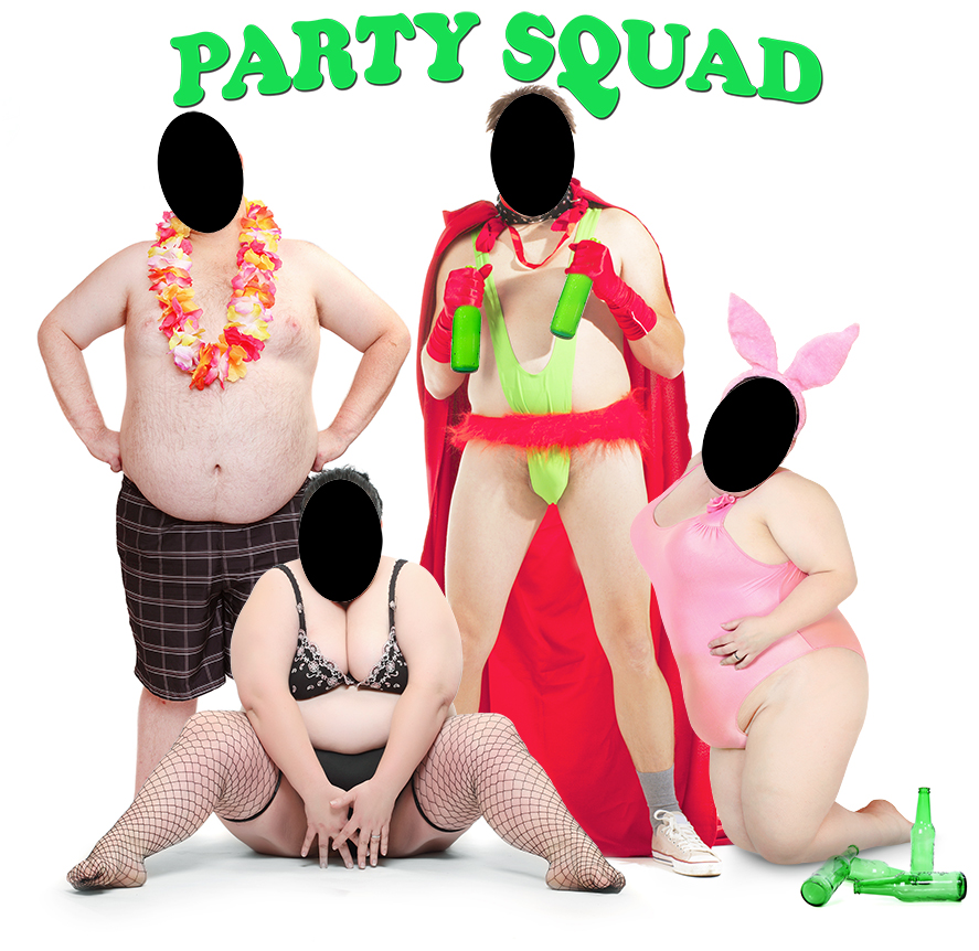 Party squad, borat, mankini, bunny girl, adult party ideas, 18+ party ideas