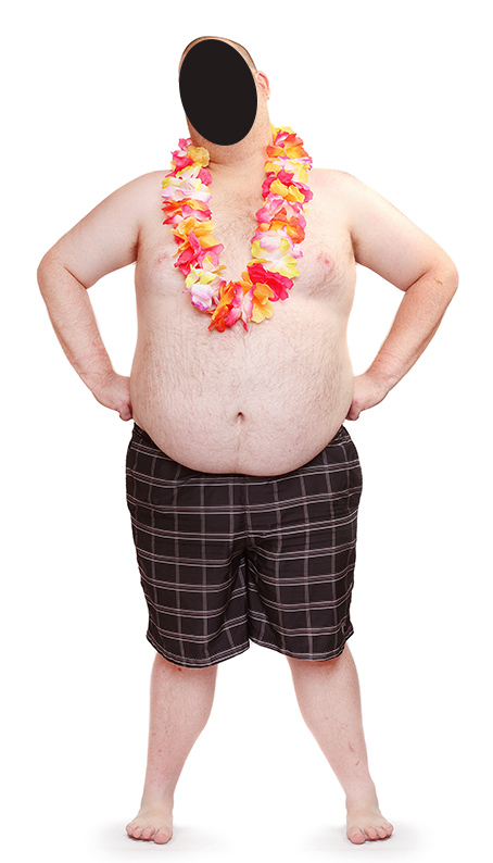 party animal, lei, fat man, adult party ideas