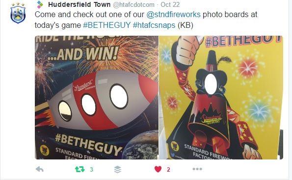 Standard Fireworks, Huddersfield Town FC, face in hole board, peep board, standee board, fireworks, football