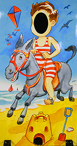 beach donkey holiday photo cutout board