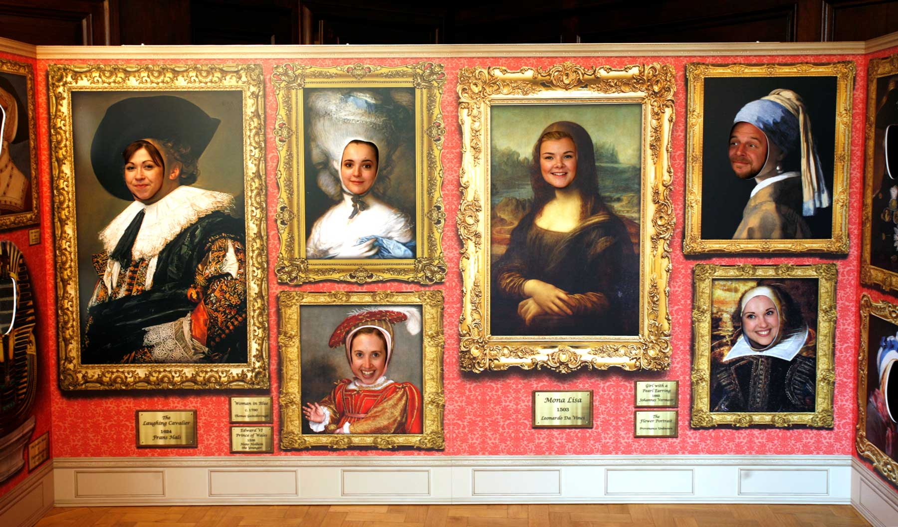 Cambridge university face in hole pop up art gallery
