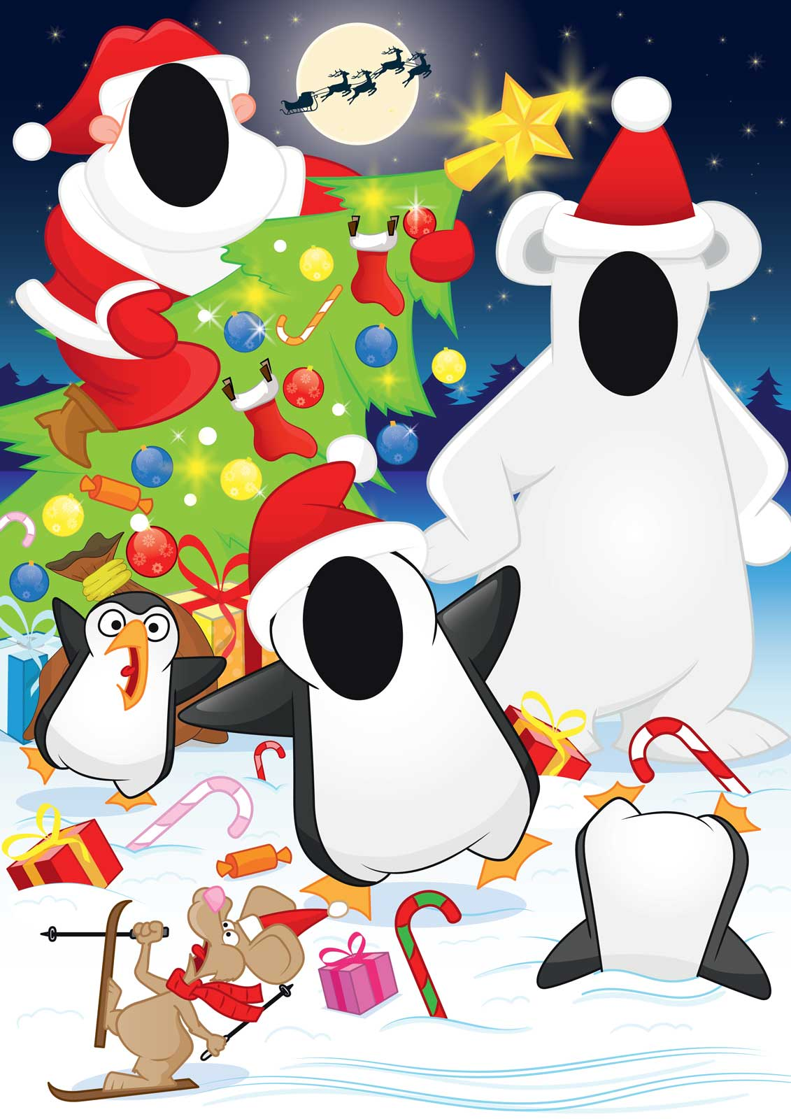 2017 polar bear, penguin, santa claus, Christmas scene