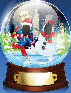 Snow globe christmas face in hole board