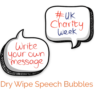 Hand held speech bubbles