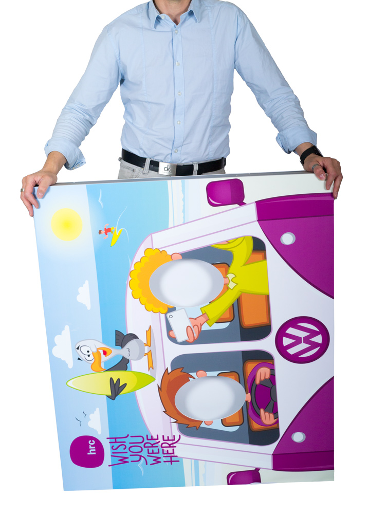Folding photo cutout boards, folding marketing props, compact marketing props