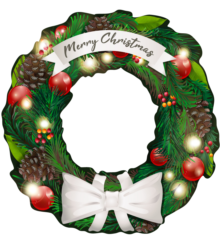 Handheld selfie board_ Christmas Wreath Design