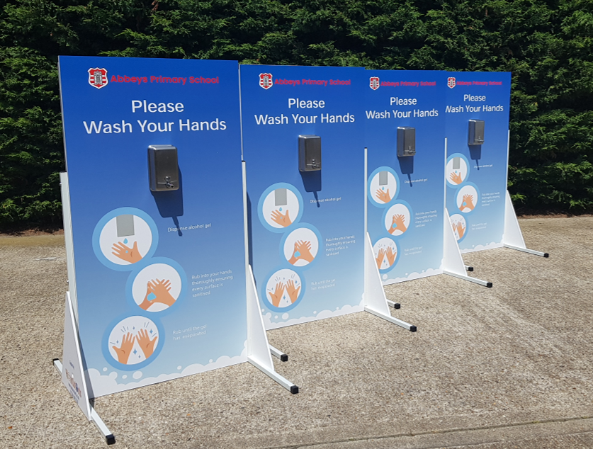 Single dispenser sanitiser stations_multiple boards for schools