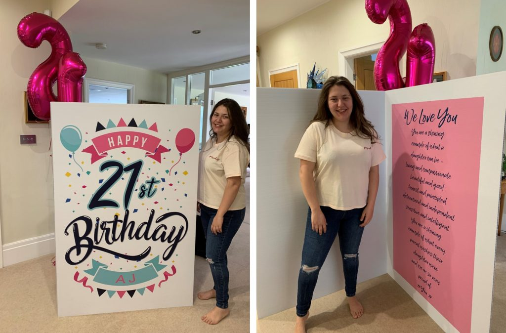 Giant personalised card for 21st birthday