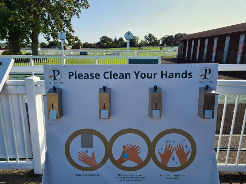 Branded hand sanitiser station at Plumpton Racecourse