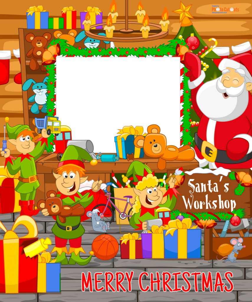 Santa's workshop photo stand-in board