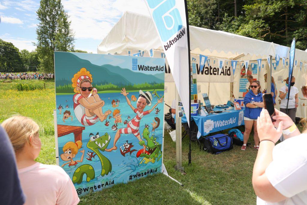 Great North Swim charity photo board