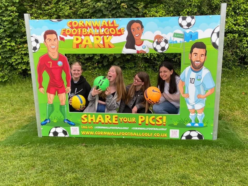 Footballgolf branded photo standin